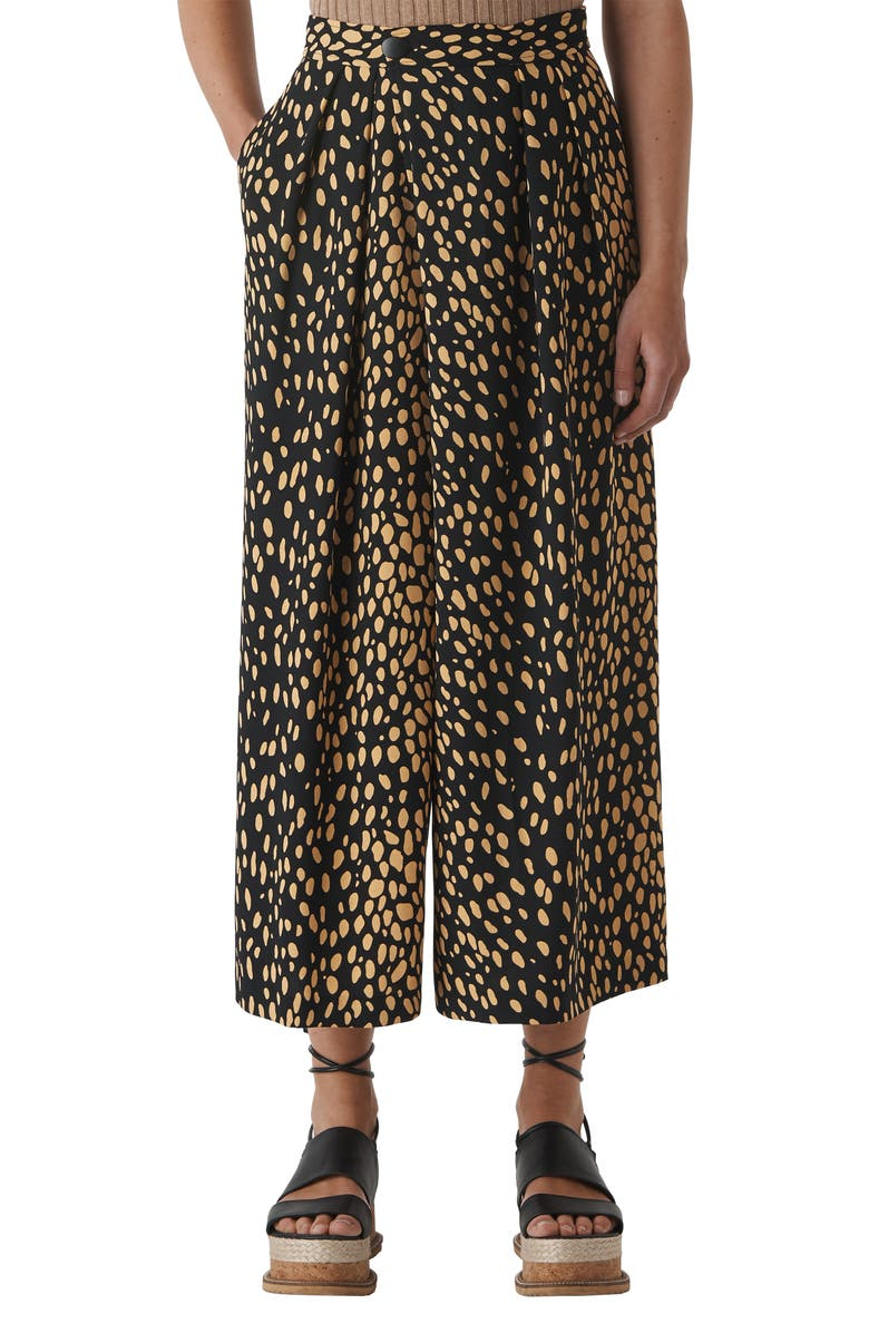 WHISTLES Ruth Pebble Print Wide Leg Crop Trousers, Main, color, 001