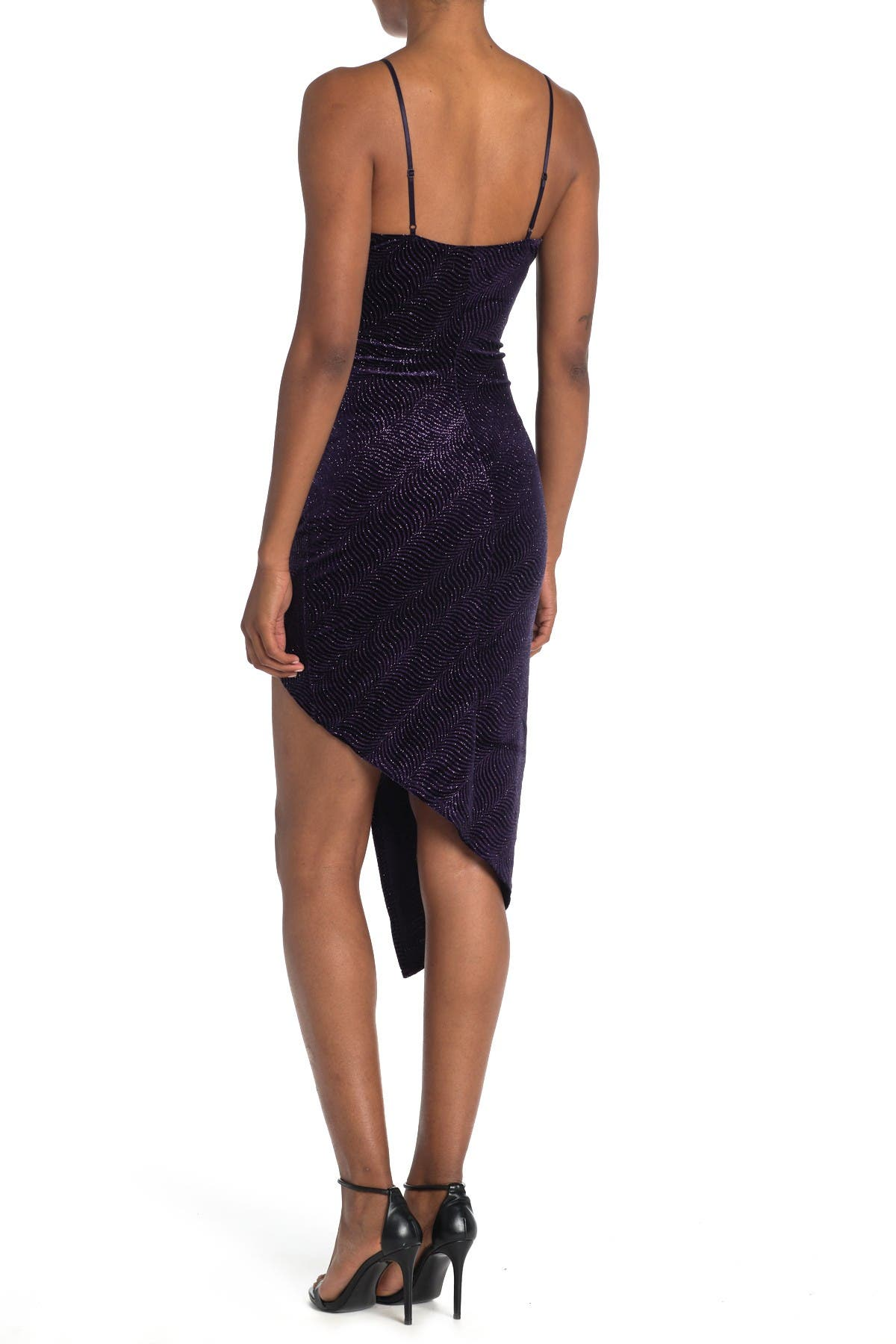 Love, Nickie Lew Glitter Velvet Ruched High/Low Bodycon Dress