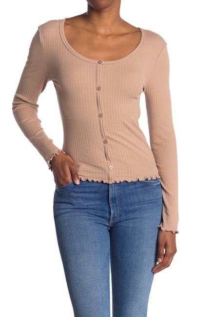 Image of Abound Button Front Pointelle Knit Top