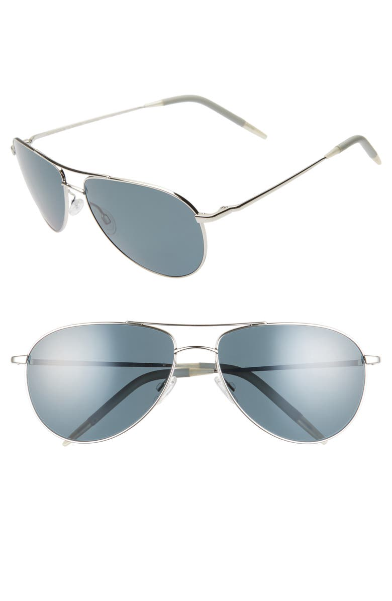 OLIVER PEOPLES Benedict 59mm Aviator Sunglasses, Main, color, SILVER/BLUE
