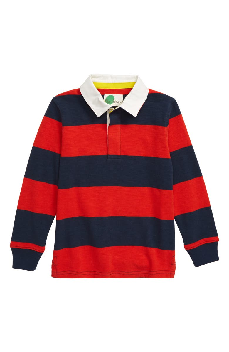 MINI BODEN Rugby Polo Shirt, Main, color, STORMY BLUE/ ROCKET RED