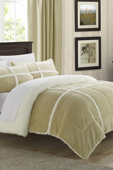 Image of Chic Home Bedding Queen Camille Box Sherling Lined Comforter Set - Camel