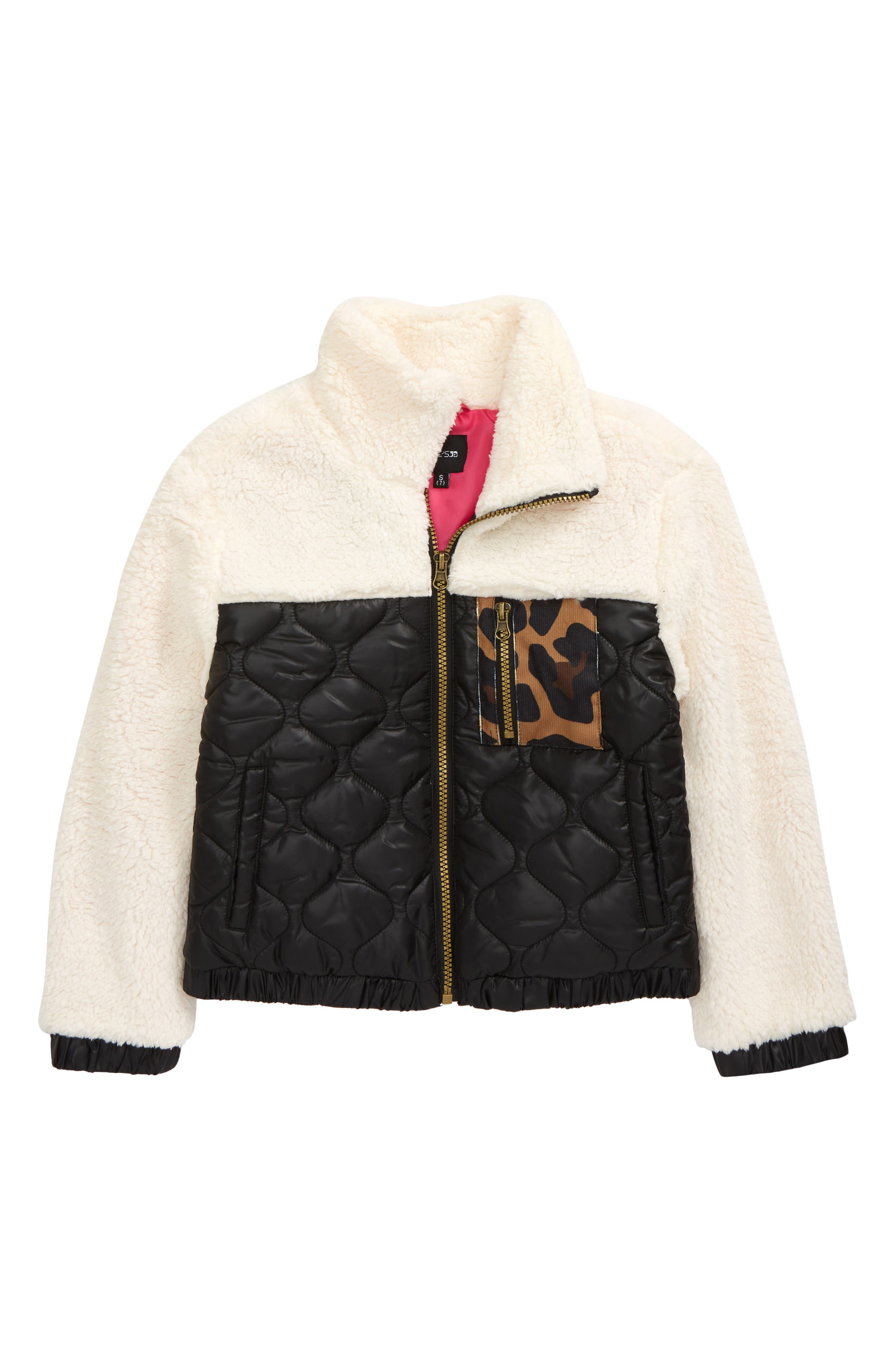 Keep her warm in this front-zip jacket styled with an irresistible mix of fluffy high-pile fleece, puffed quilting and a leopard-spotted zippered pocket. Style Name: Joe\\\'s Kids\\\' The Hailie Jacket (Big Girl). Style Number: 6108217. Available in stores.