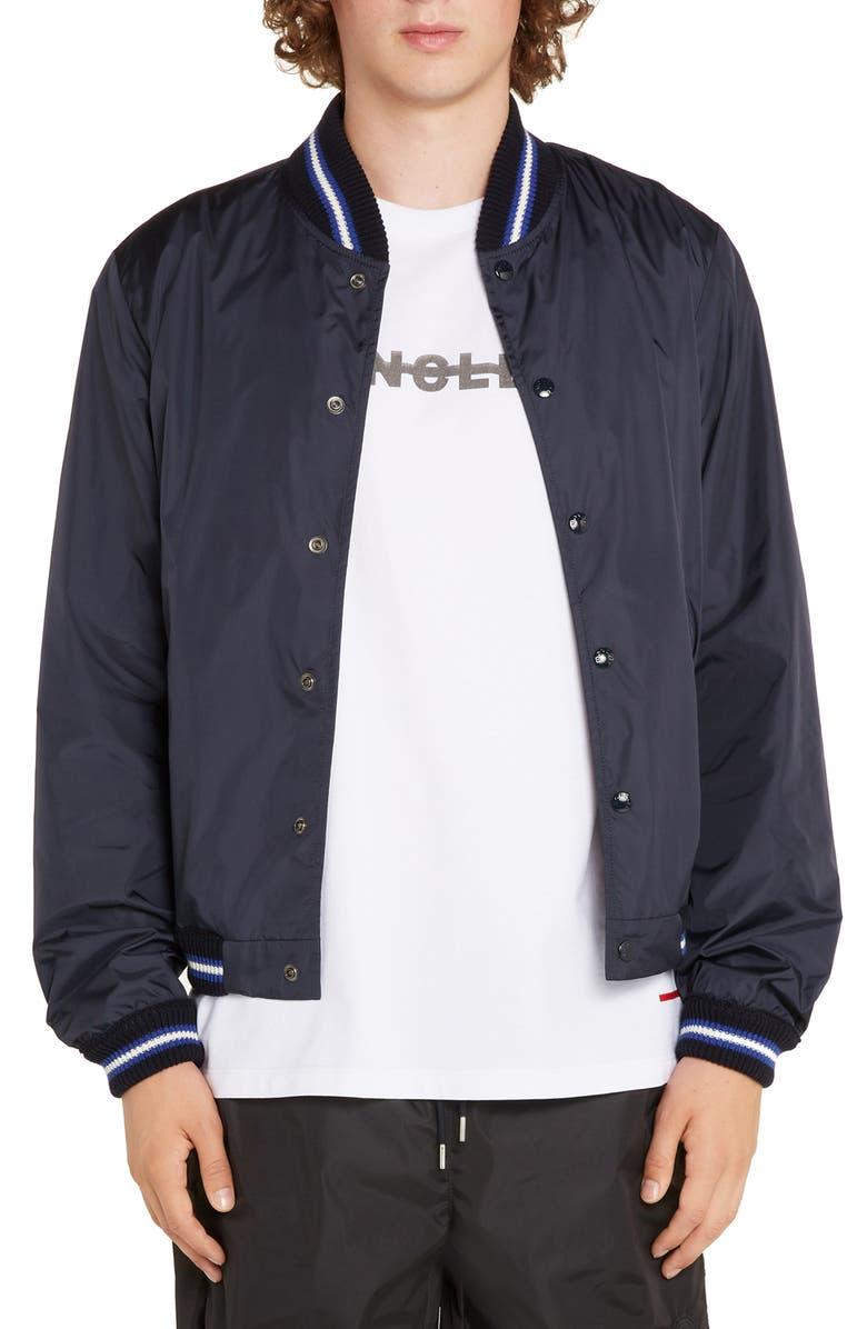 MONCLER Dubost Varsity Baseball Jacket, Main, color, BLUE
