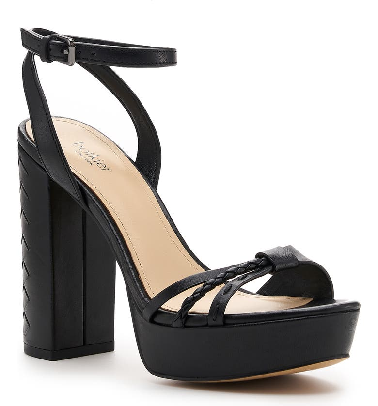 BOTKIER Petra Ankle Strap Platform Sandal, Main, color, BLACK LEATHER
