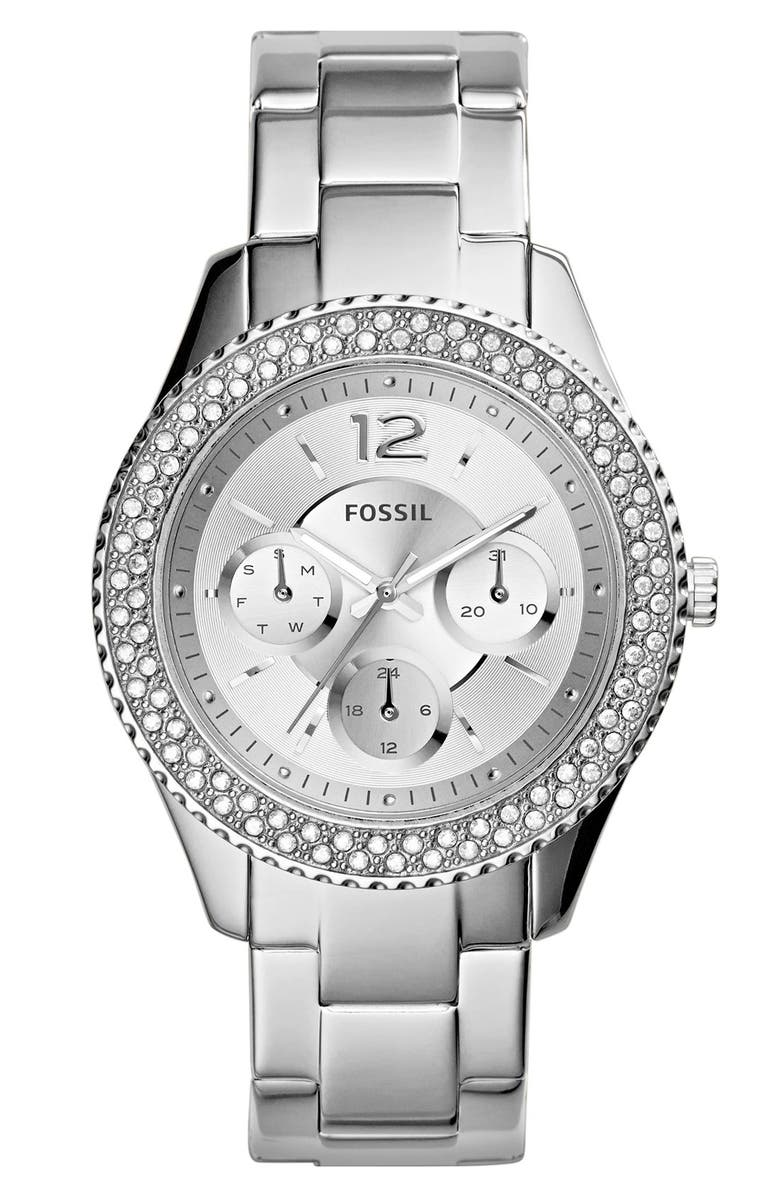 FOSSIL 'Stella' Crystal Bezel Multifunction Bracelet Watch, 38mm, Main, color, 040