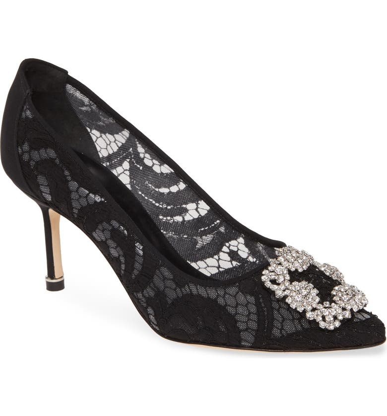 MANOLO BLAHNIK 'Hangisi' Pointy Toe Pump, Main, color, BLACK SATIN/ CLEAR