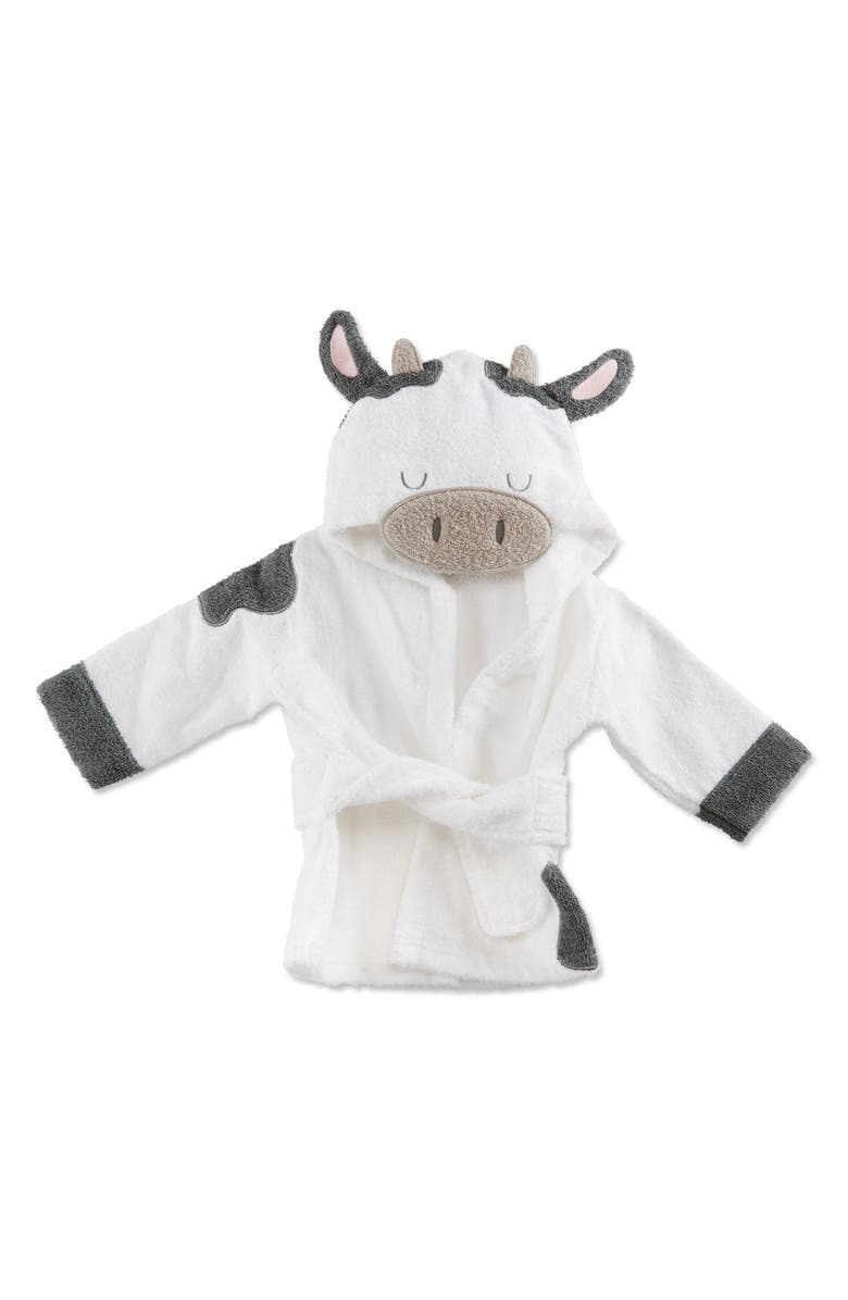BABY ASPEN Cow Hooded Terry Robe & Book Set, Main, color, WHITE/ BLACK