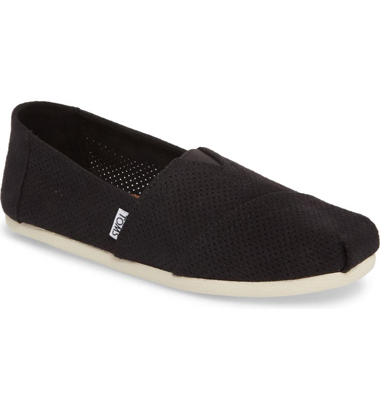 TOMS Alpargata Perforated Slip-On, Main, color, 001
