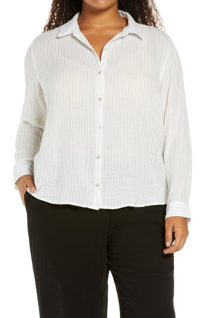 Eileen Fisher CLASSIC COLLAR BUTTON-UP SHIRT