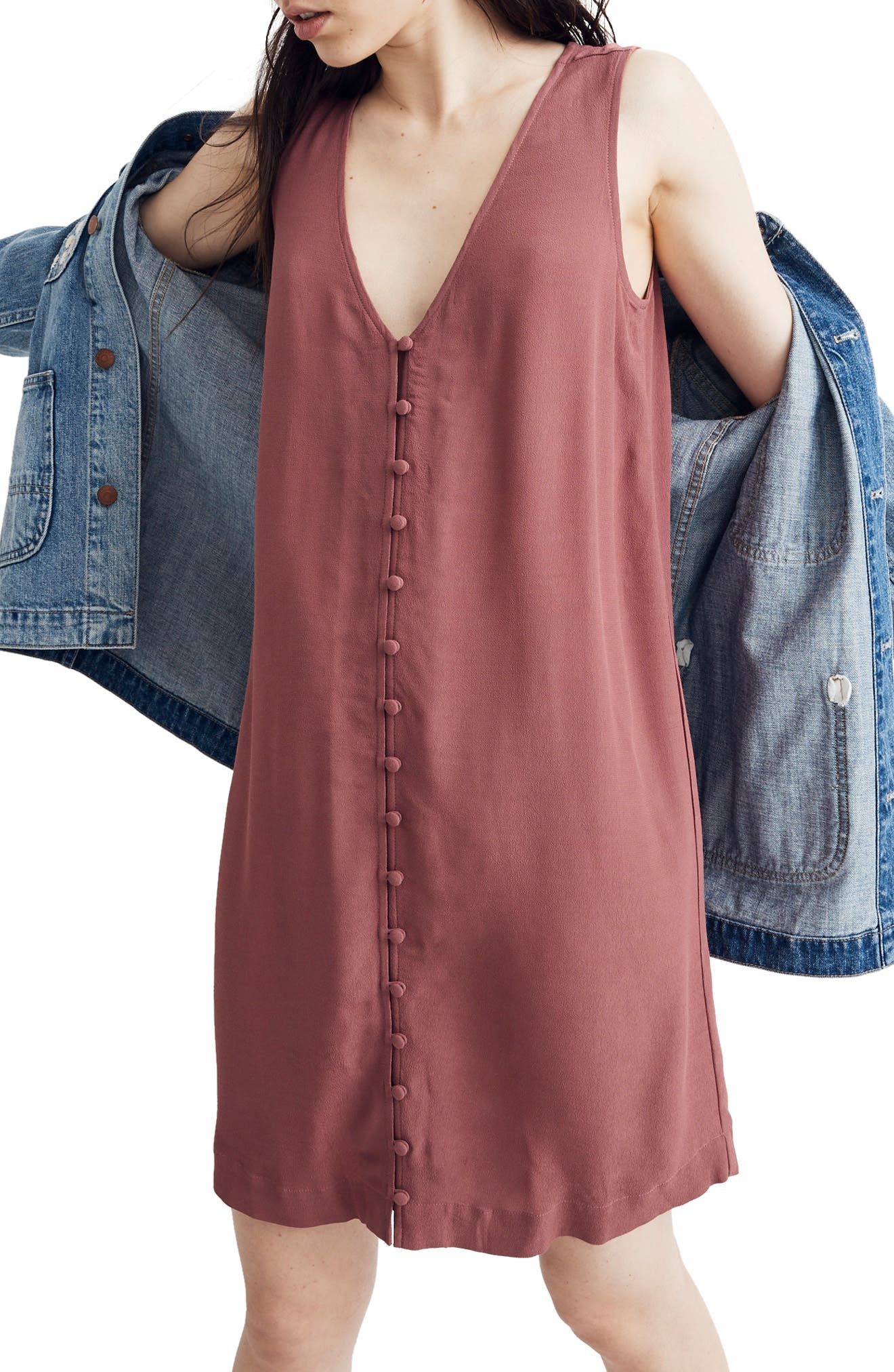 Madewell Heather Button Front Dress, Purple