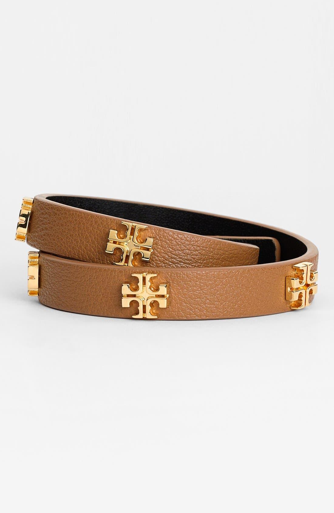 ,                             'Tory Split T' Logo Leather Wrap Bracelet,                             Main thumbnail 2, color,                             200