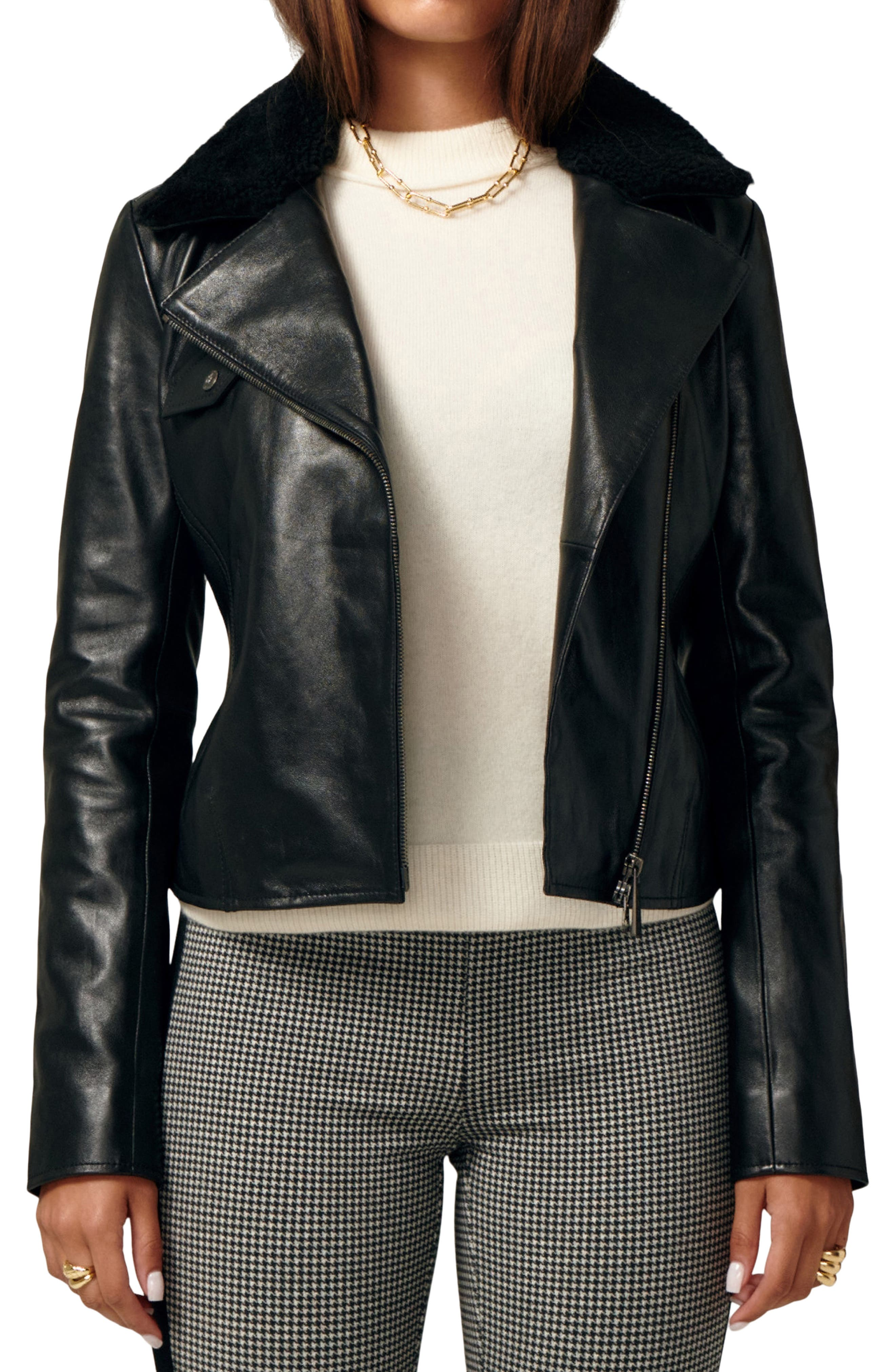 Ultimate Biker Leather Jacket With Genuine Shearling Collar