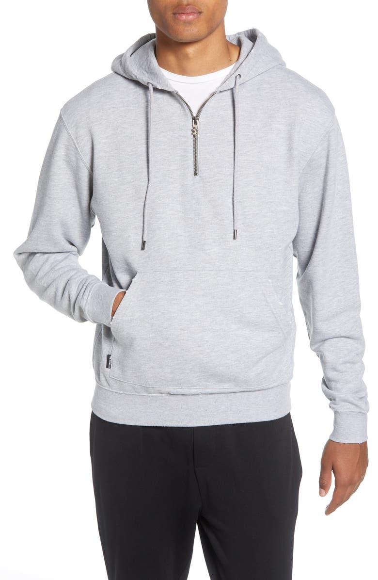 THE KOOPLES Regular Fit Quarter Zip Pullover Hoodie, Main, color, GREY