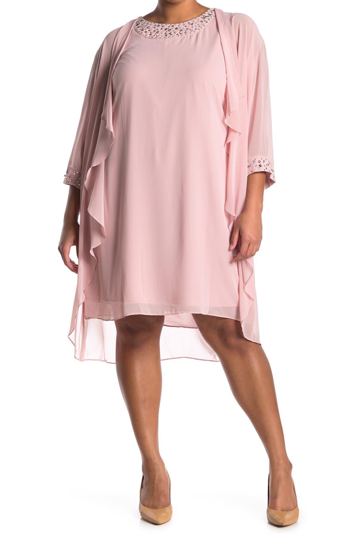 Image of SLNY Embellished Cascade Overlay Dress