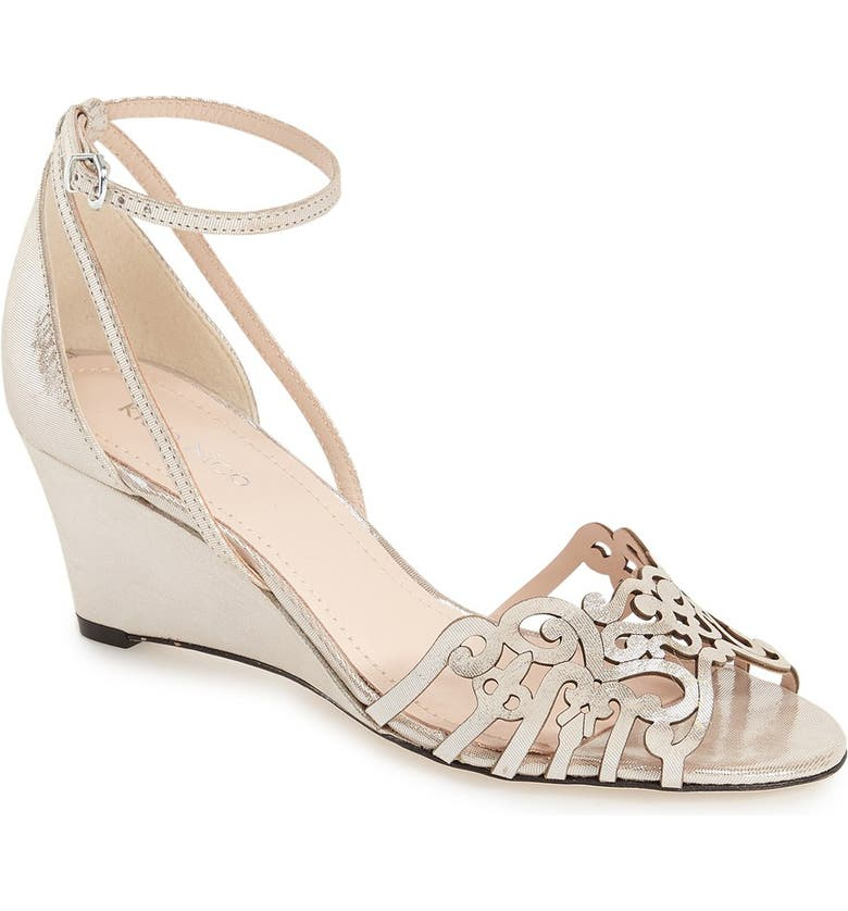 KLUB NICO 'Kingston' Ankle Strap Wedge Sandal, Main, color, SILVER LEATHER