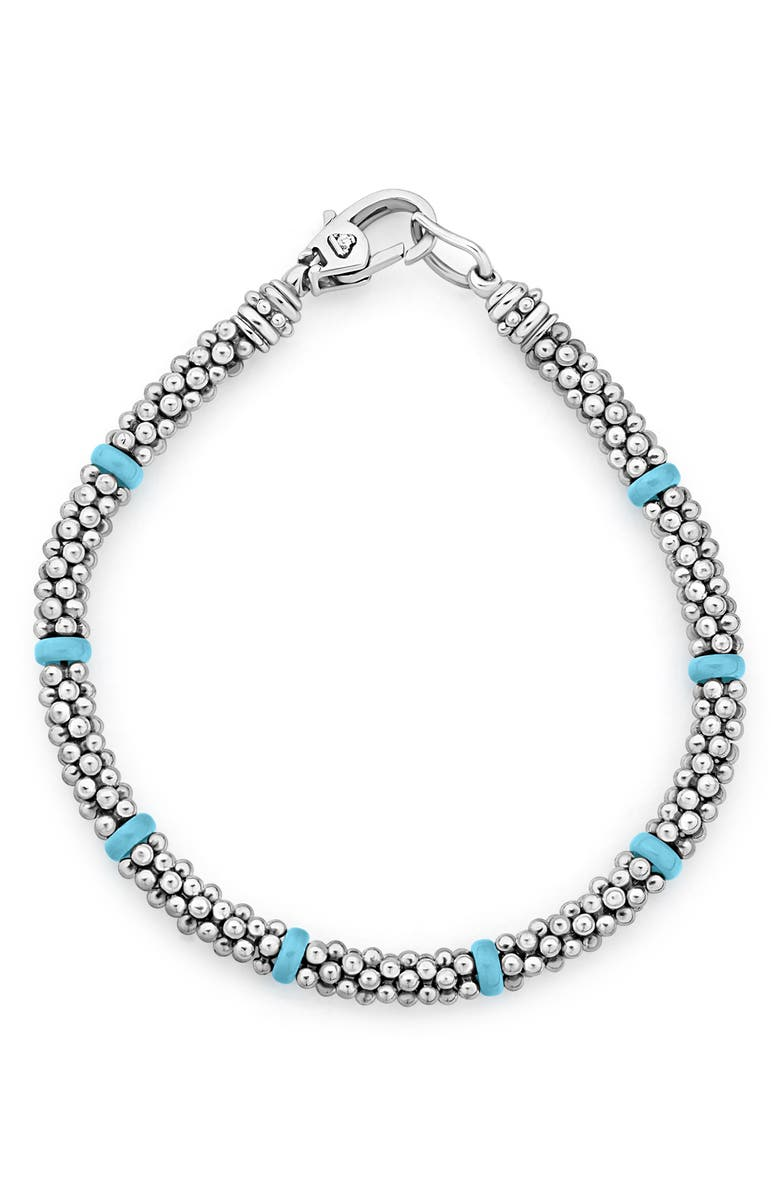 LAGOS Maya Blue Ceramic & Caviar Beaded Bracelet, Main, color, SILVER/ TURQUOISE