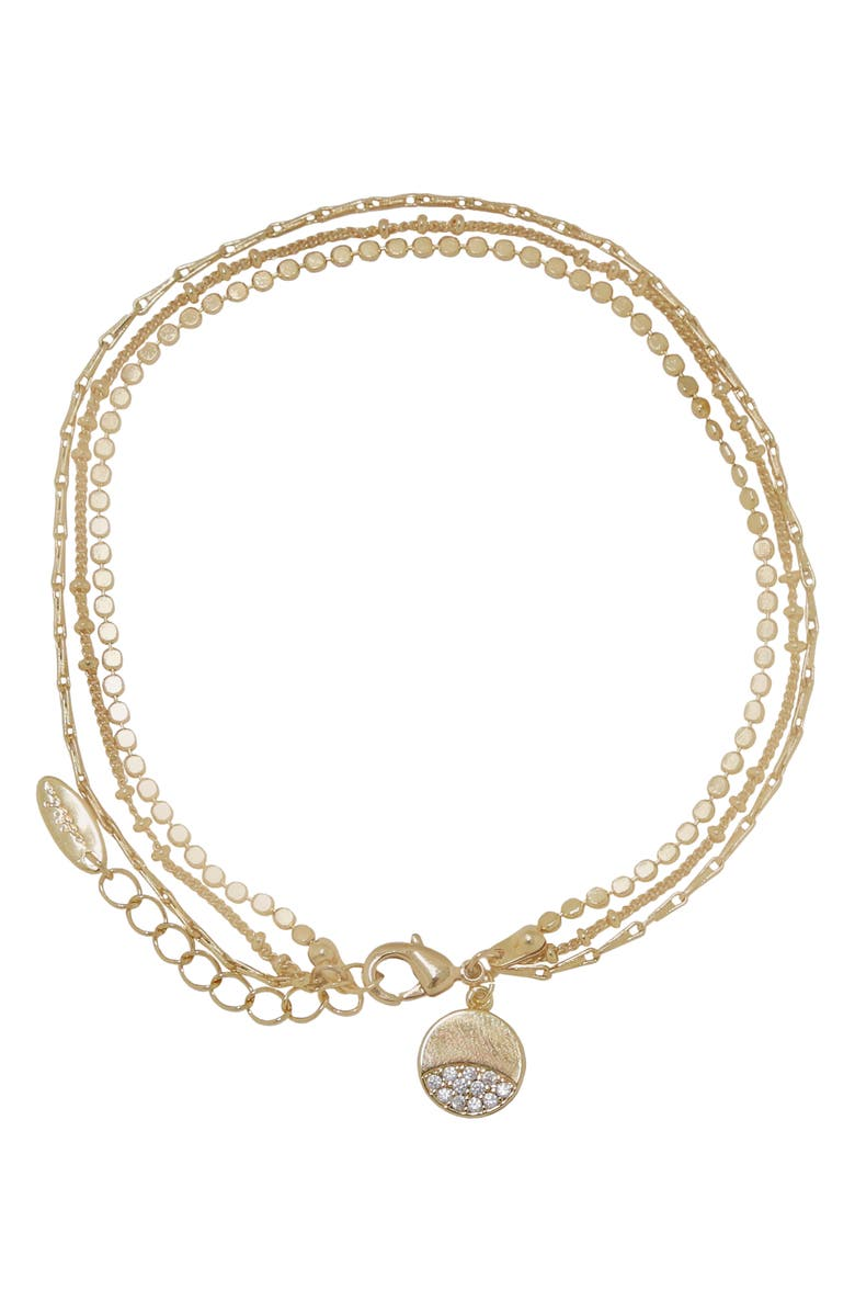 ETTIKA Pavé Disc Layered Chain Anklet, Main, color, GOLD