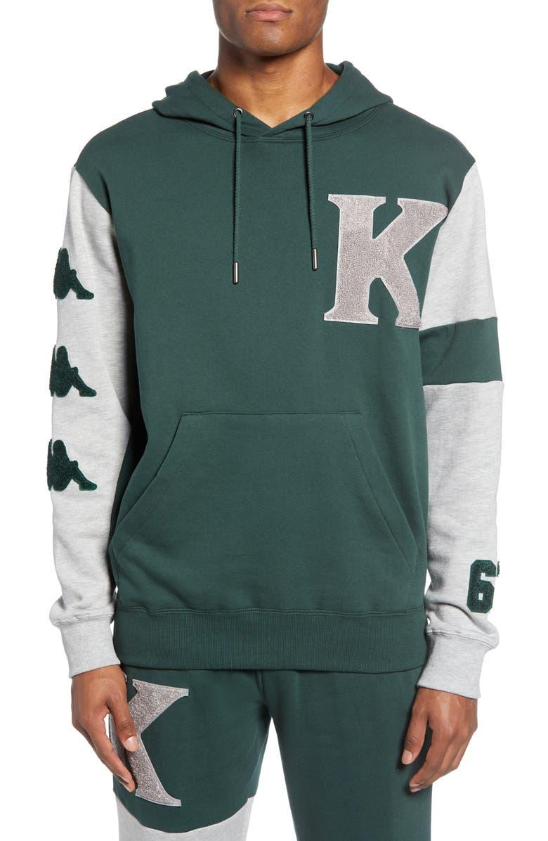 KAPPA Authentic Bensy Hooded Sweatshirt, Main, color, GREEN DK-GREY LT MEL