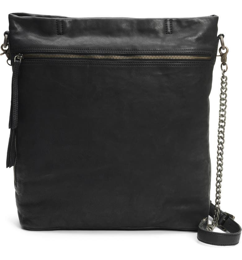 FRYE AND CO Riley Leather Crossbody Bag, Main, color, BLACK