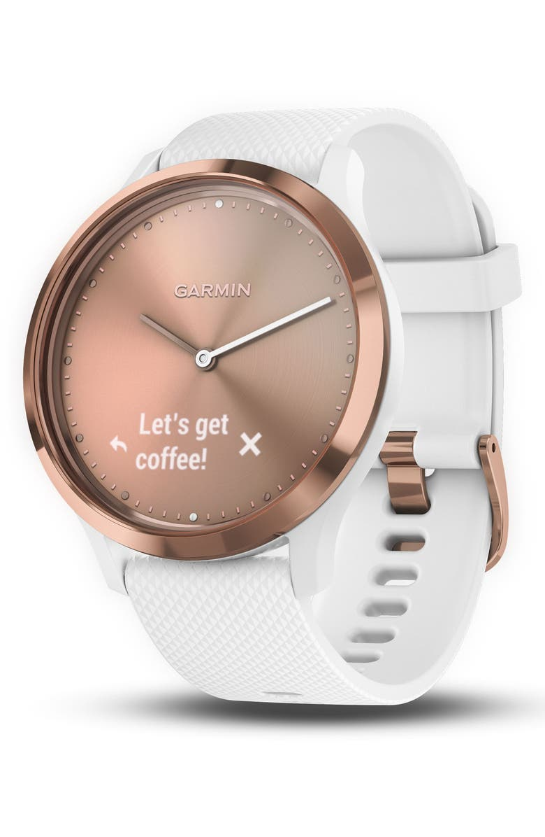 GARMIN Vivomove HR Sport Hybrid Smart Watch, 43mm, Main, color, WHITE/ ROSE GOLD/ ROSE GOLD