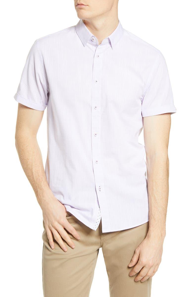 TED BAKER LONDON Salah Microdot Short Sleeve Button-Up Shirt, Main, color, PURPLE
