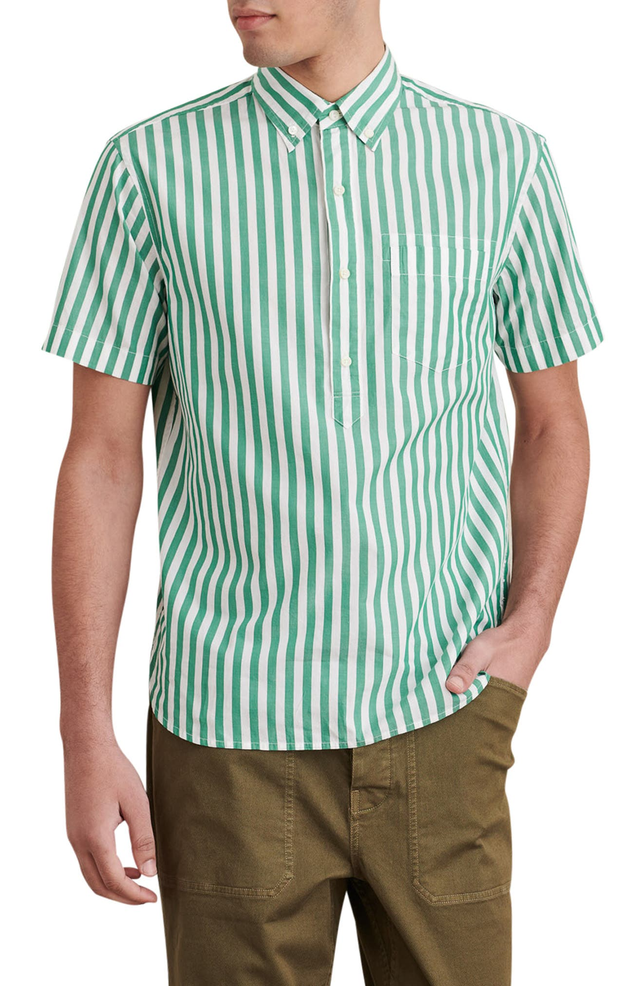 Stripe Short Sleeve Popover Button-Down Shirt