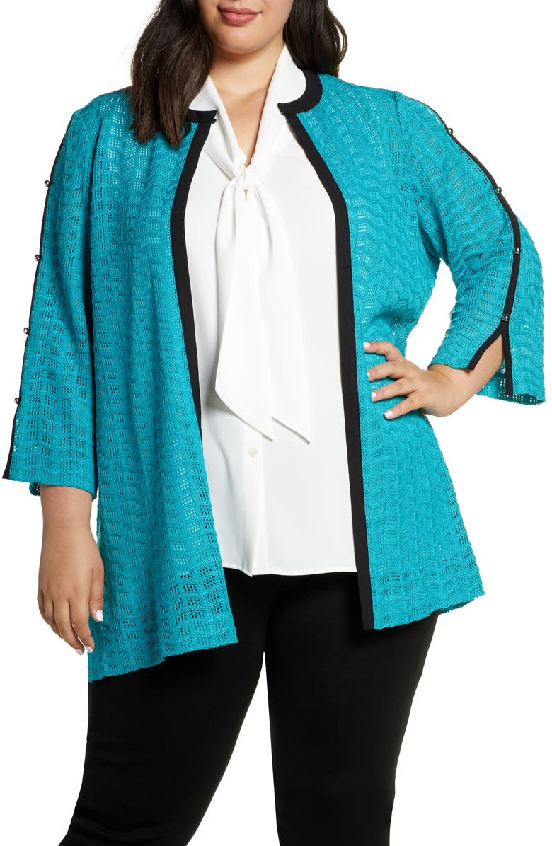 MING WANG Open Stitch Contrast Trim Cardigan, Main, color, 400