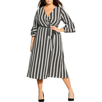 Plus Size City Chic Stripe Out Faux Wrap Midi Dress, Black