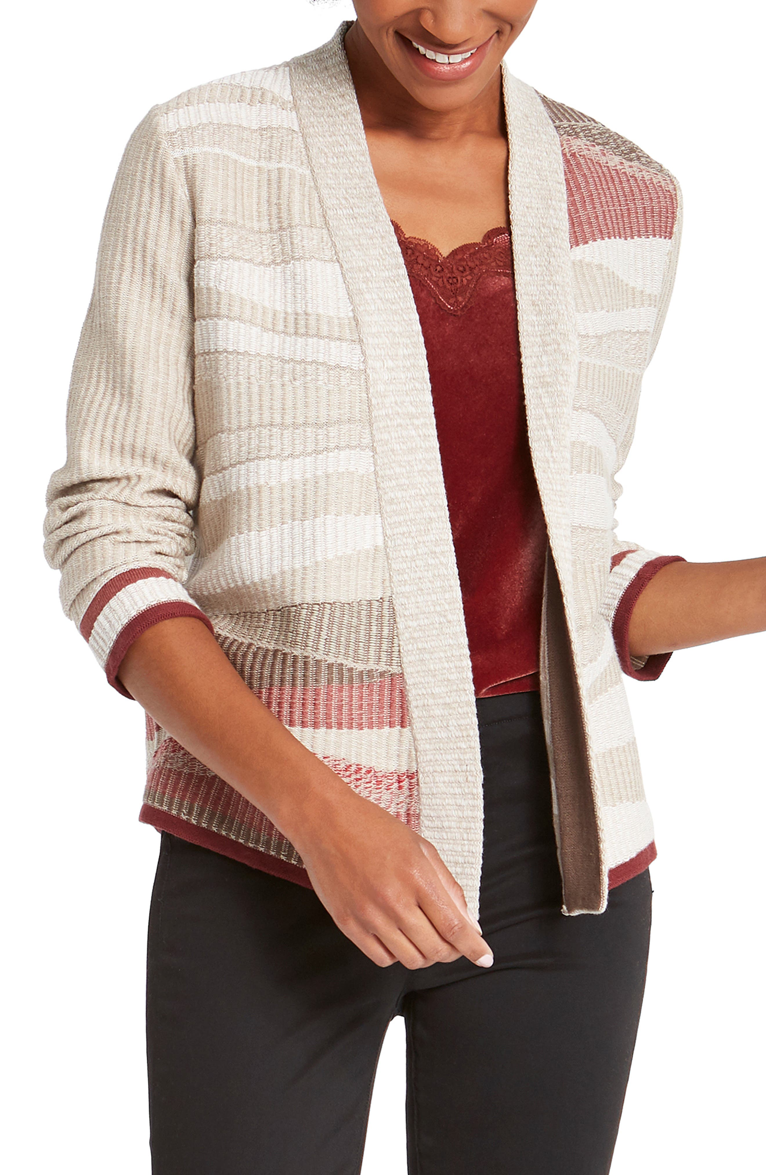 Jacquard stripes like air currents bring a fresh look to this open-front, cotton-blend cardigan perfect for tossing on when the weather turns crisp. Style Name: Nic+Zoe Fall Air Open Front Cardigan (Regular & Petite). Style Number: 6098304. Available in stores.