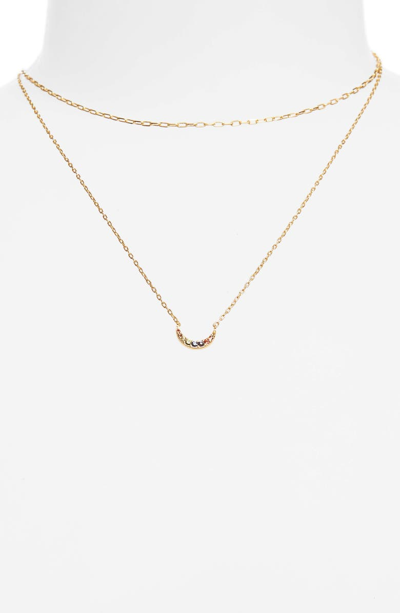 MADEWELL Rainbow Pavé Moon Necklace Set, Main, color, 710