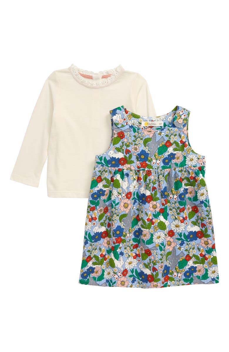 MINI BODEN Pinnie Long Sleeve Top & Corduroy Dress Set, Main, color, BABY FLORABUNDA