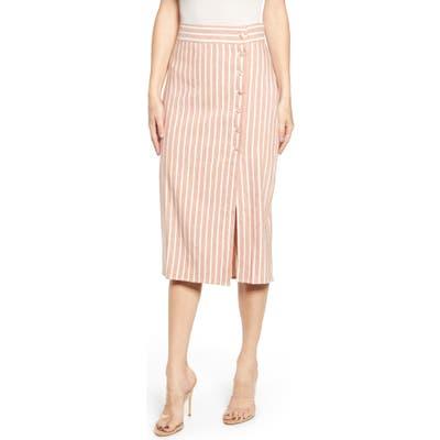 Leith Stripe Midi Skirt, Brown