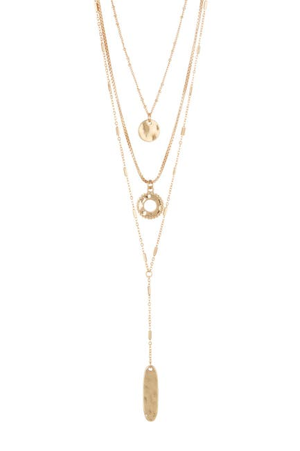Image of Melrose and Market Triple Layer Hammered Pendants Necklace