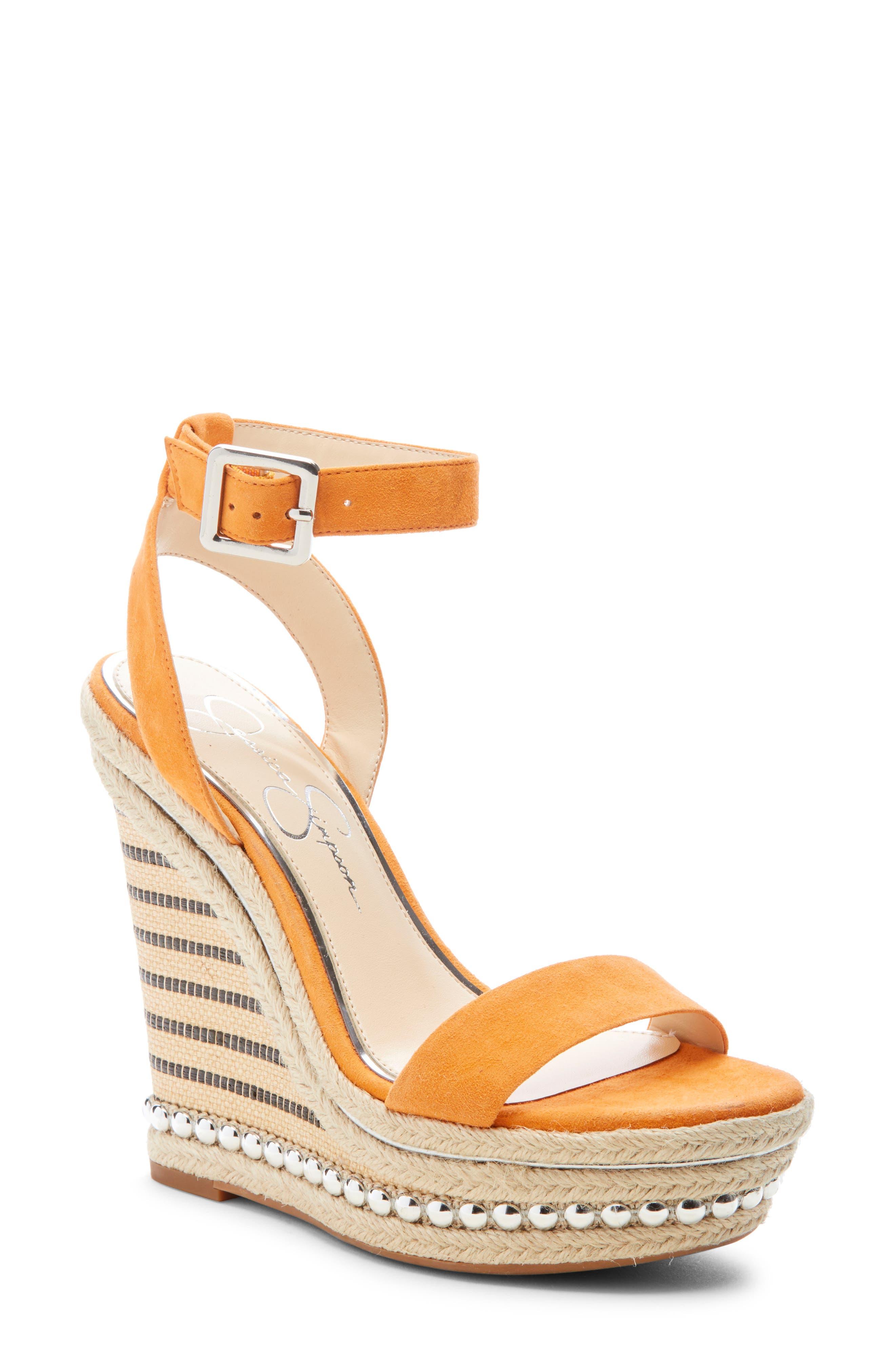 Jessica Simpson Alinda Embellished Wedge Sandal, Orange