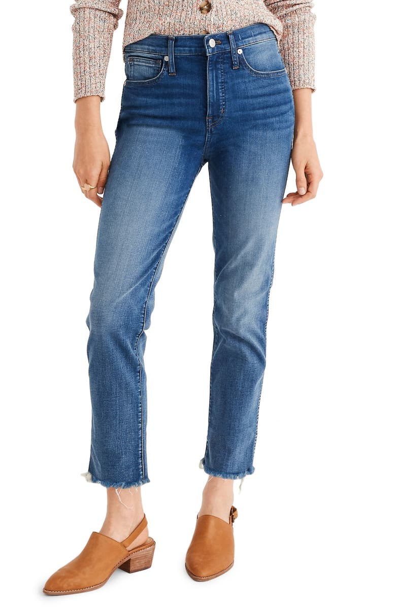 MADEWELL Stovepipe Jeans Fluffy Hem Edition, Main, color, CHANCERY WASH