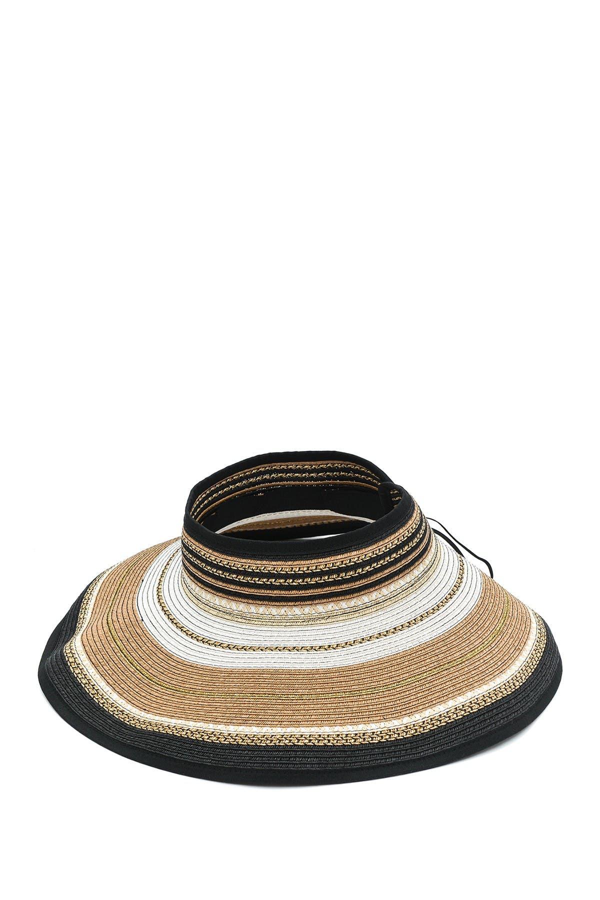 Image of Vince Camuto Multi-Stripe Lurex Roll-Up Visor