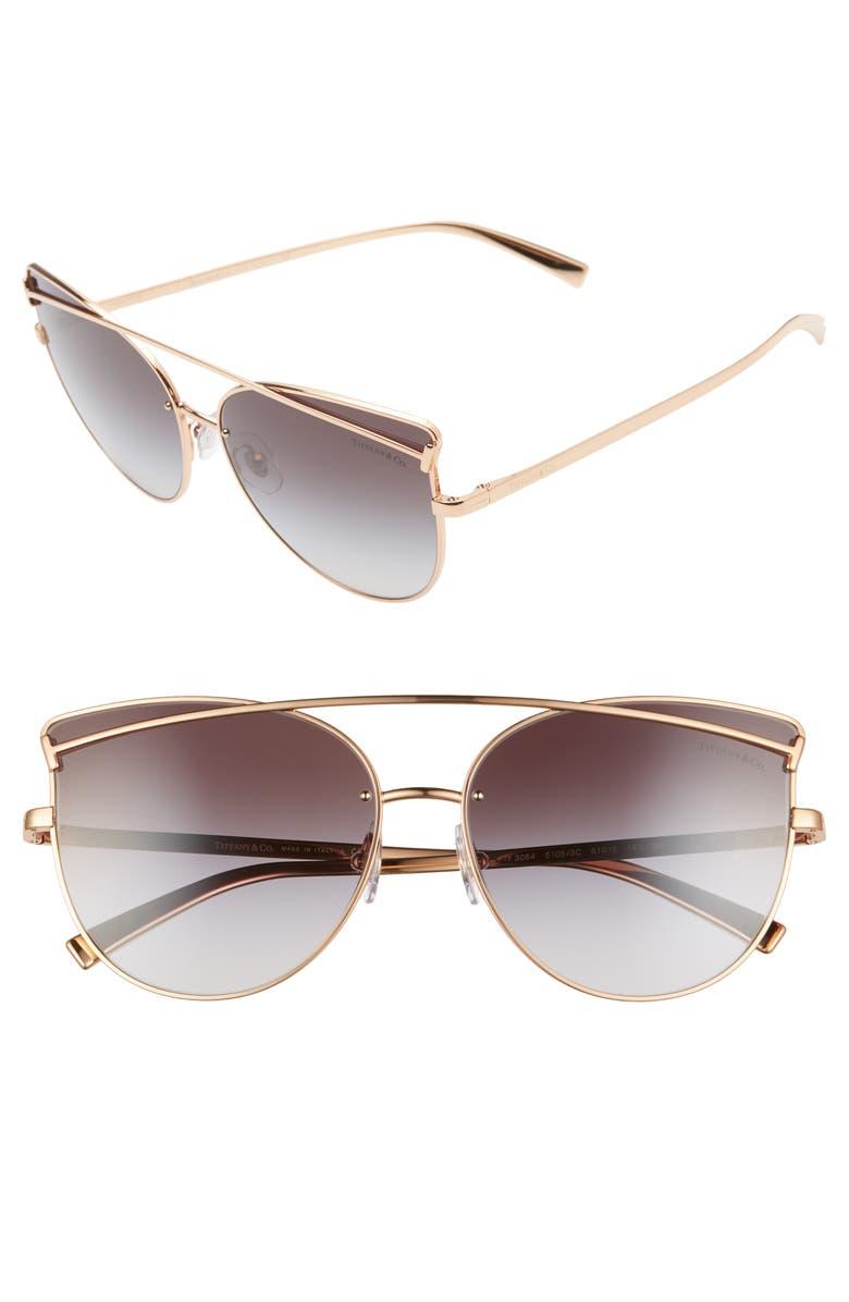 TIFFANY & CO. 61mm Cat Eye Sunglasses, Main, color, GOLD/ GREY GRADIENT