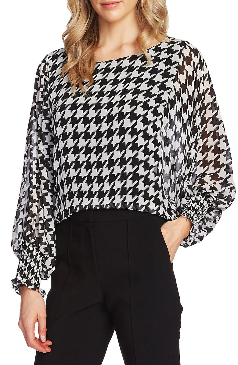 VINCE CAMUTO Houndstooth Blouse, Main, color, RICH BLACK