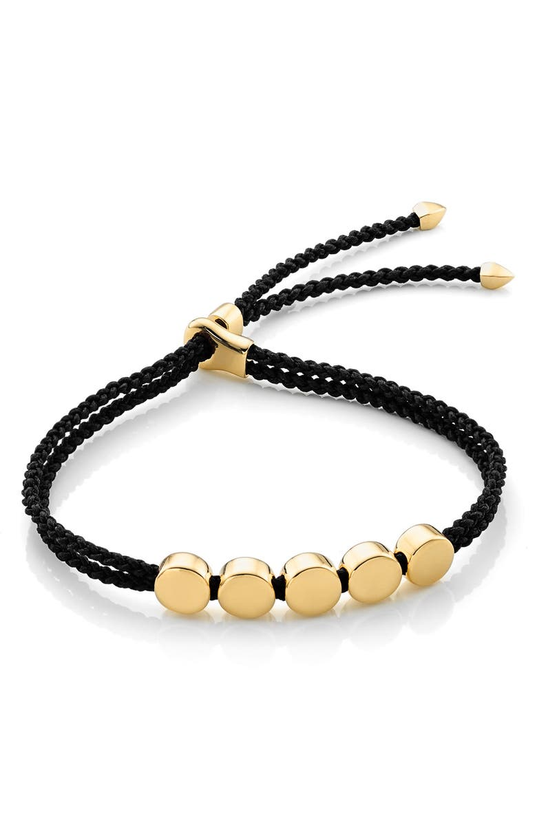 MONICA VINADER Engravable Linear Bead Friendship Bracelet, Main, color, BLACK/ YELLOW GOLD