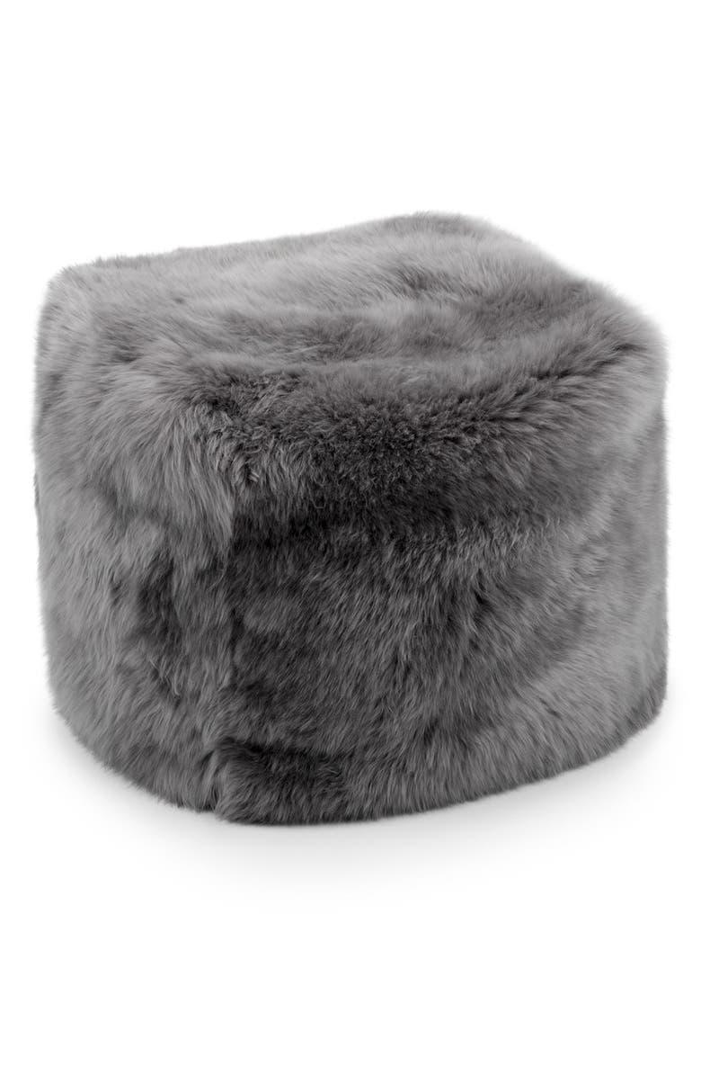 UGG<SUP>®</SUP> Genuine Shearling Pouf, Main, color, GREY
