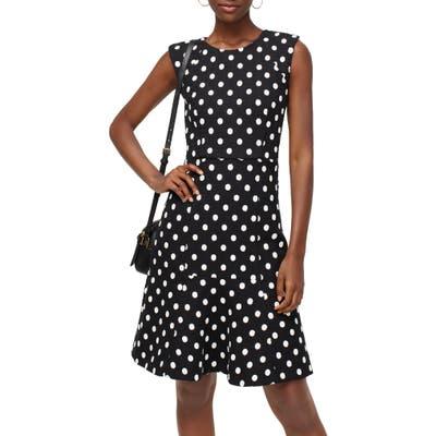 J.crew Polka Dot Embroidered Tweed A-Line Dress, Black