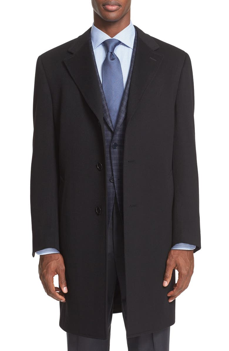 CANALI Classic Fit Wool & Cashmere Topcoat, Main, color, 001