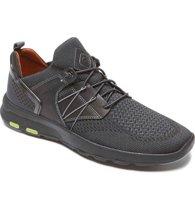 ROCKPORT Let's Walk Knit Bungee Sneaker, Main, color, BLACK KNIT