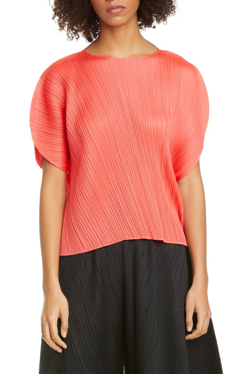 PLEATS PLEASE ISSEY MIYAKE Curved Pleated Top, Main, color, BRIGHT RED