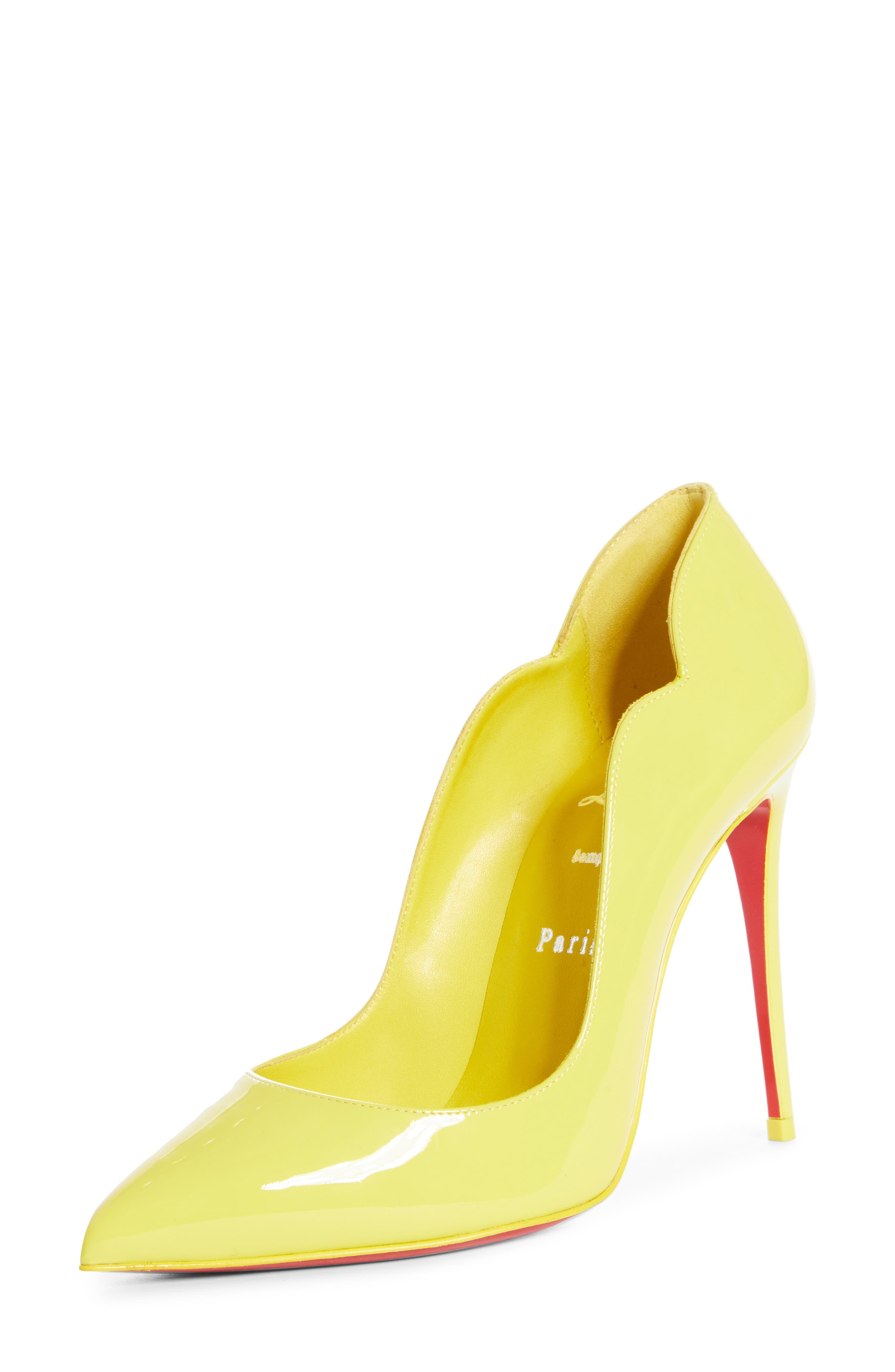 A curvy, scalloped counter and willowy stiletto heel dial up the drama on a pointy-toe pump finished with an iconic Louboutin red sole. Style Name: Christian Louboutin Hot Chick Scallop Pointed Toe Pump (Women). Style Number: 6006309. Available in stores.