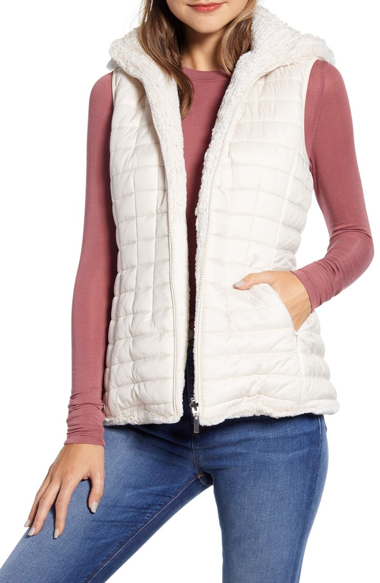GALLERY Reversible Hooded Faux Fur Vest, Main, color, CREAM