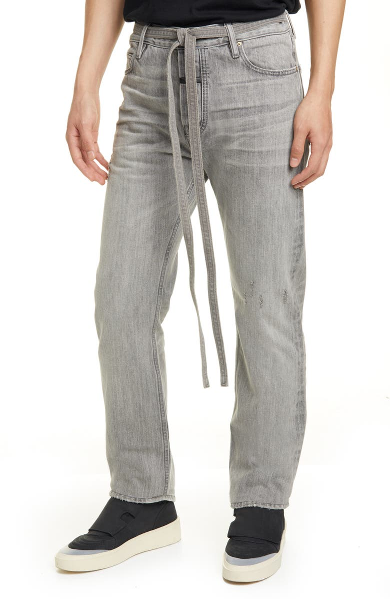 FEAR OF GOD Tie Waist Relaxed Fit Jeans, Main, color, GOD GREY