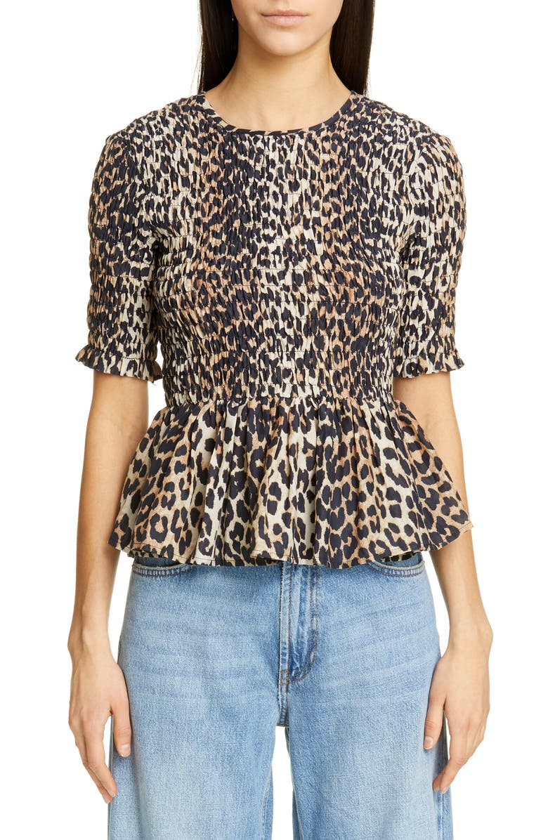 GANNI Leopard Print Cotton & Silk Peplum Top, Main, color, LEOPARD