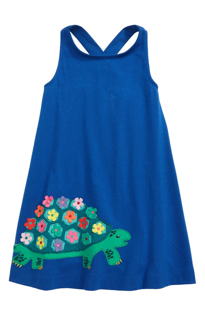MINI BODEN Cross Back Appliqué Dress, Main, color, DUKE BLUE TORTOISE